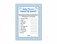 24 Baby Shower Boy Blue Plaid Price Is Right Game Cards 5x7