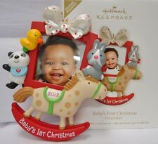2012 HALLMARK Babys First Christmas Photo Holder Rocking Horse Ornament NEW