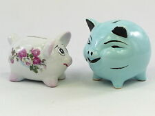 Two Small Vintage Ceramic Piggy Bank Retro Money Boxes