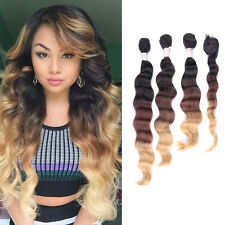 Ombre Synthetic Body Wavy Hair Extensions Weft Natural Black To Caramel Blonde