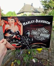 Official HARLEY-DAVIDSON Motorcycles Embossed Wall Sign - sexy Redhead