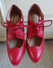 Chelsea Crew Monk Red Faux Leather Wing Tip Oxford Heels size 5M/Eur 36M