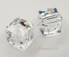 2x SWAROVSKI #5601 CLEAR CRYSTAL 8MM CUBE CRYSTAL BEAD