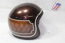 old brown motorcycle 3/4 helmet Harley Honda vintage 1970s EPS19868