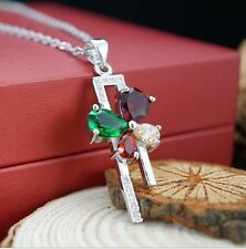 Lady Emerald Garnet Topaz Clear CZ 925 Sterling Silver Chain Pendant Necklace