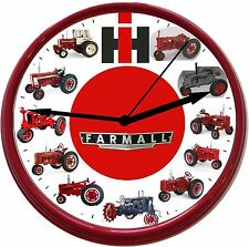 NEW INTERNATIONAL HARVESTER FARMALL TRACTOR WAL CLOCK  W/ 12 IH FARMALL TRACTORS
