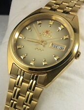 New  Orient Automatic Watch Men Gold Tone  Brown  Dial Box  + warranty  Free Shi