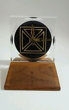 Vintage Mid Century Modern Teak Lucite Battery Operated Desk Clock