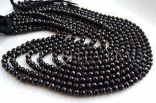 """13"""" strand black SPINEL faceted ROUND gem stone beads 4mm - 4.5mm"""