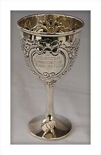 Superb 1912 Sterling Silver Fishing Trophy Goblet. Ollerton Angling Club, Notts.