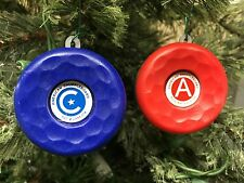 AMERICAN TABLE SHUFFLEBOARD SHUFFLE BOARD PUCK CHRISTMAS ORNAMENT -RED&BLUE