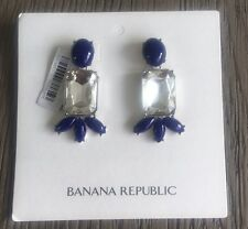 New Authentic Banana Republic Blue and Clear Statement Earrings