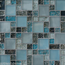 10SF blue crackle glass mosaic tile Backsplash Kitchen wall bathroom shower sink