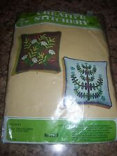 """vintage creative stitchery craft kit 13"""" pillow crewel embroidery field flowers"""