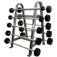 TROY 20-110 lb Rubber Encased Fixed Weight Straight Barbell Set with Rack