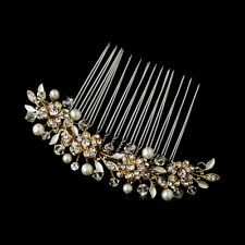 STUNNING BRIDAL WEDDING RHINESTONES GOLD PEARLS DIAMANTE HAIR COMB