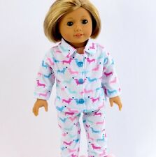 "Doll Clothes Fits 18"" American Girl or Boy Weiner Dog Print Pajamas PJs 2pcs"