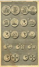 """Medals of K. William and Q. Mary"" from Rapin's HISTORY OF ENGLAND  Pl II - 1745"