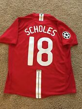 MANCHESTER UNITED HOME SHIRT 2007/08 ADULTS LARGE (L) SCHOLES 18 VINTAGE NIKE