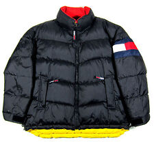 VTG 90S TOMMY HILFIGER USA FLAG LOGO BUBBLE JACKET OG AALIYAH RAP POLO SPORT L