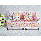 Mini Furniture Sofa With Flower Print Cushion Bolster For Barbie Doll Dollhouse