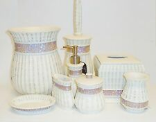 NICOLE MILLER 8 PC SET RESIN BEIGE+ROSE GOLD,CLEAR CRYSTAL SOAP DISPENSER+TRASH+