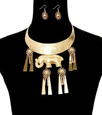 Gold ELEPHANT PENDANT PLATE CHOKER Tassel Statement Necklace & Earrings SET