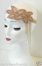 Nude Pink Gold Beaded Headpiece Headdress Vtg 1920s Headband Flapper Girl N83