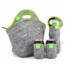 Nordic by Nature Extra Big Insulated Large Neoprene Lunch Bag Set: Tote + Bot...