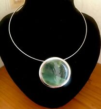 VIRGIN VIE GREEN ROUND ABALONE? SHELL SILVER-TONE RING PENDANT NECKLACE