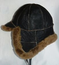 NEW! men's Sheepskin Russian Bomber - Aviator Russian Hat  in one Real Leather