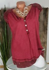 NEU ITALY VINTAGE SOMMER TOP SHIRT PAILLETTEN ❤️ WASHED MERLOT 38-44