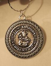 Handsome Swirled Rim St. Anthony Guide My Way Silvertone Medal Pendant Necklace