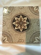 Antique Vintage Printed Tile Floral Brown Transfer Design Staffordshire Pottery