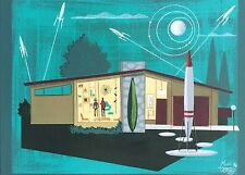 EL GATO GOMEZ PAINTING RETRO 1950'S MID CENTURY MODERN RANCH HOUSE SCI-FI ROBOT