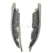 1 Pair 925 Sterling Silver Simple Leaf Ear Cuff Climber Crawler Earrings