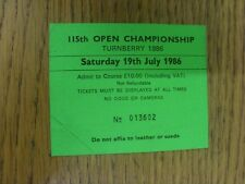19/07/1986 Golf Ticket: 115th Open Championship [At Turnberry] Green. Thank you