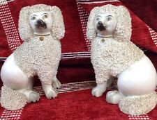 Antique 19th C Staffordshire Porcelaneous Pair Pottery Poodles Separate Feet