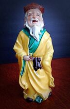 Antique/Vintage Asian Clay and Porcelain Statue of A Robed Man - VG Condition