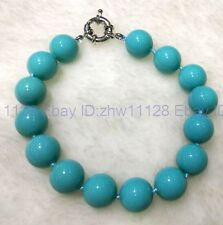 A+++ 12mm Turquoise Blue Sea Shell Pearl Bracelet 7.5'' (100% real shell pearl)