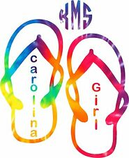 Monogram Sticker Tie Dyed Flip Flop,leave me your initials in the correct order