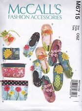 McCall's Sewing Pattern Slippers Jewelry Pouch & Case Zippered Bags OSZ M6715