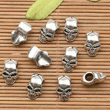 20pcs tibetan silver tone skull head face Spacer beads h0423