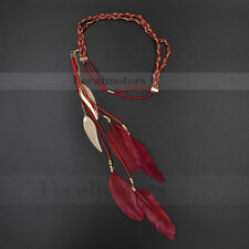 Boho Hippie Feather Headband Headdress Peacock Tassels Weave Headband Red 1PC