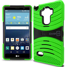 for LG LG G Vista 2 Case - Neon Green / Black Hybrid Tough Skin Phone Cover