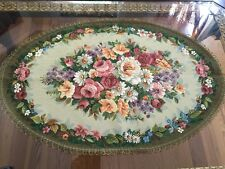 DECORATIVE TAPESTRY TABLE RUNNER Pink & Green Floral Ornament EUROPEAN ACCENT