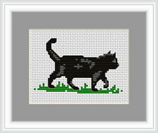 Black cat Cross Stitch Kit par Luca S idéal débutant 9 x 6 cm