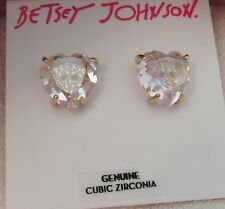 NWT BETSEY JOHNSON HEART CUBIC ZIRCONIA WITH ENCLOSED SKULL ACCENT STUD EARRINGS