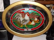 Vintage 1930 hand painted and leaded mirror chickens in the garden 82cm x64cm