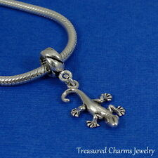 925 Sterling Silver Lizard Gecko Dangle Bead Charm - fits European Bracelets